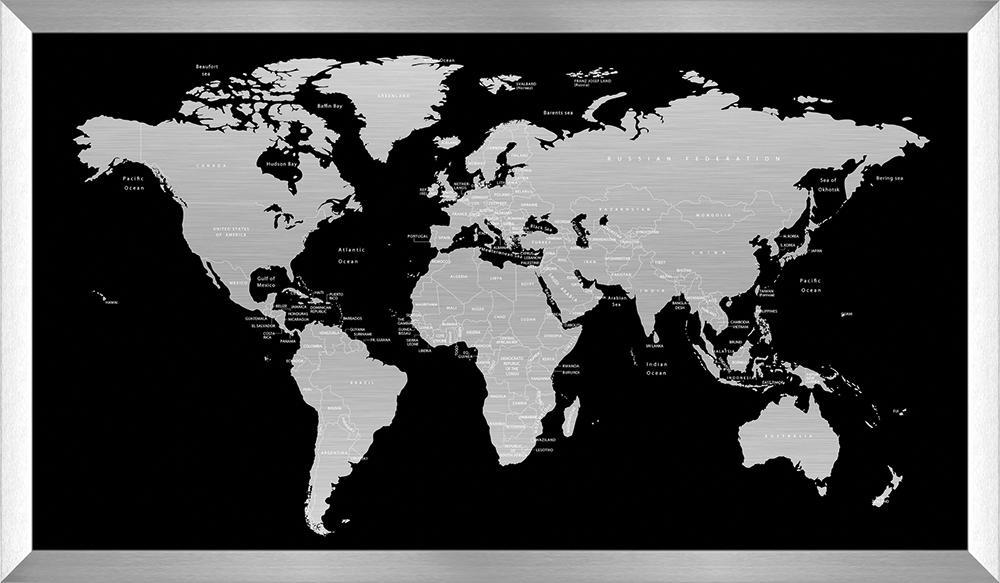 Billede af Verdenskort printet på metal