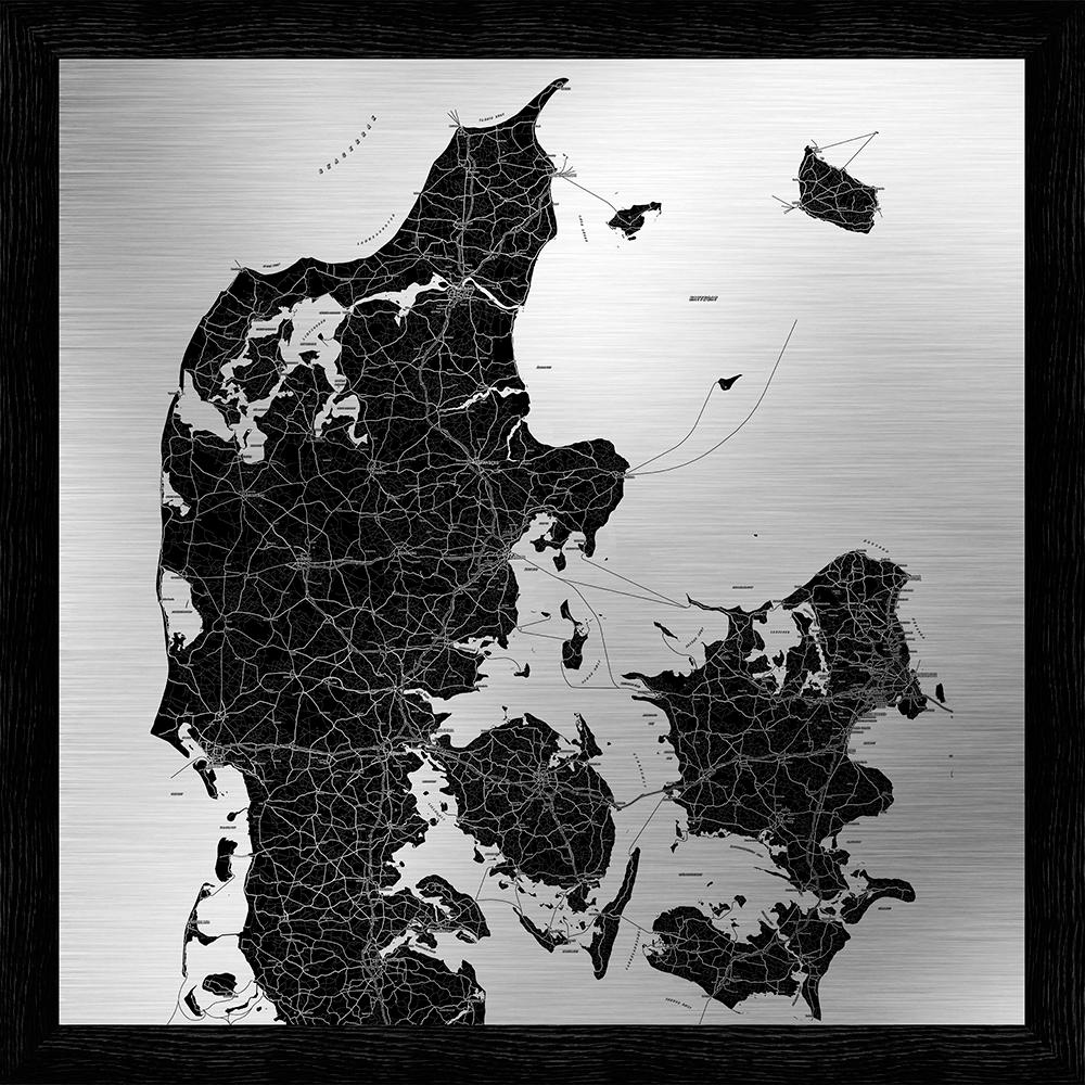 Image of   Danmarkskort metal print