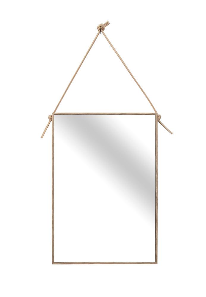 Spejl med læderophæng