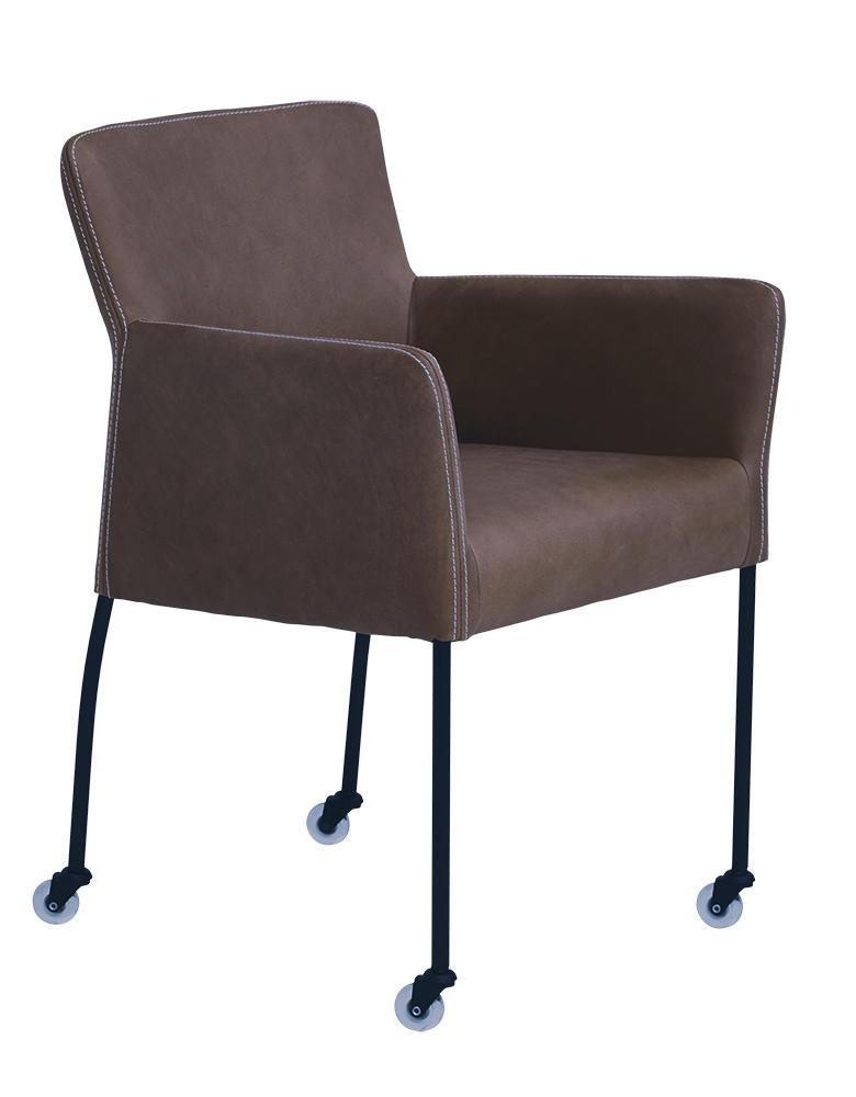 Randy spisebordsstol med armlæn og hjul