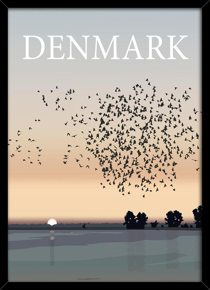 Image of   Denmark sort sol plakat