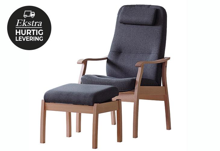 Billede af Farstrup Applaus lænestol og fodskammel