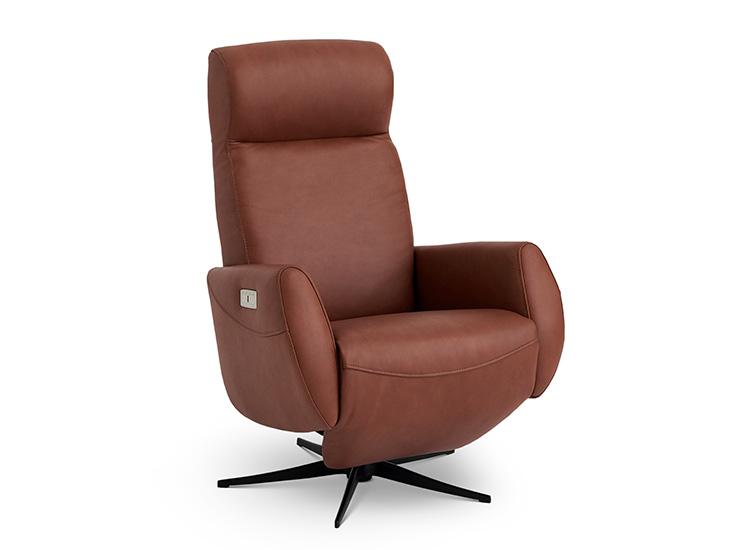 Image of   Global Comfort Tokyo cognac lænestol med indbygget fodskammel