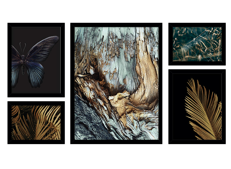 Image of   Gold and blue collage