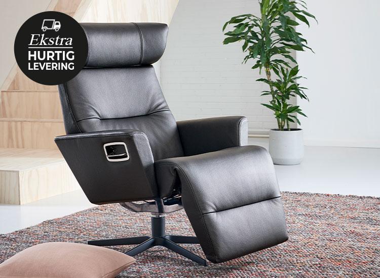 Image of   Relieve lænestol med indbygget fodskammel